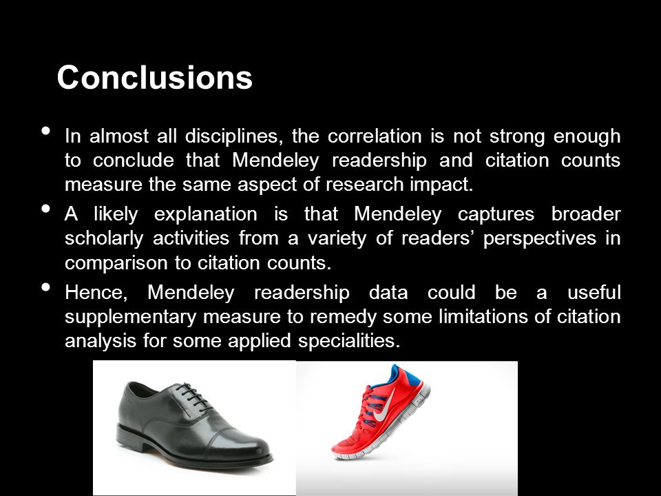 Conclusions In almost all disciplines, the correlation is not strong enough to conclude that Mendeley readership and citation counts measure the same aspect of research impact.