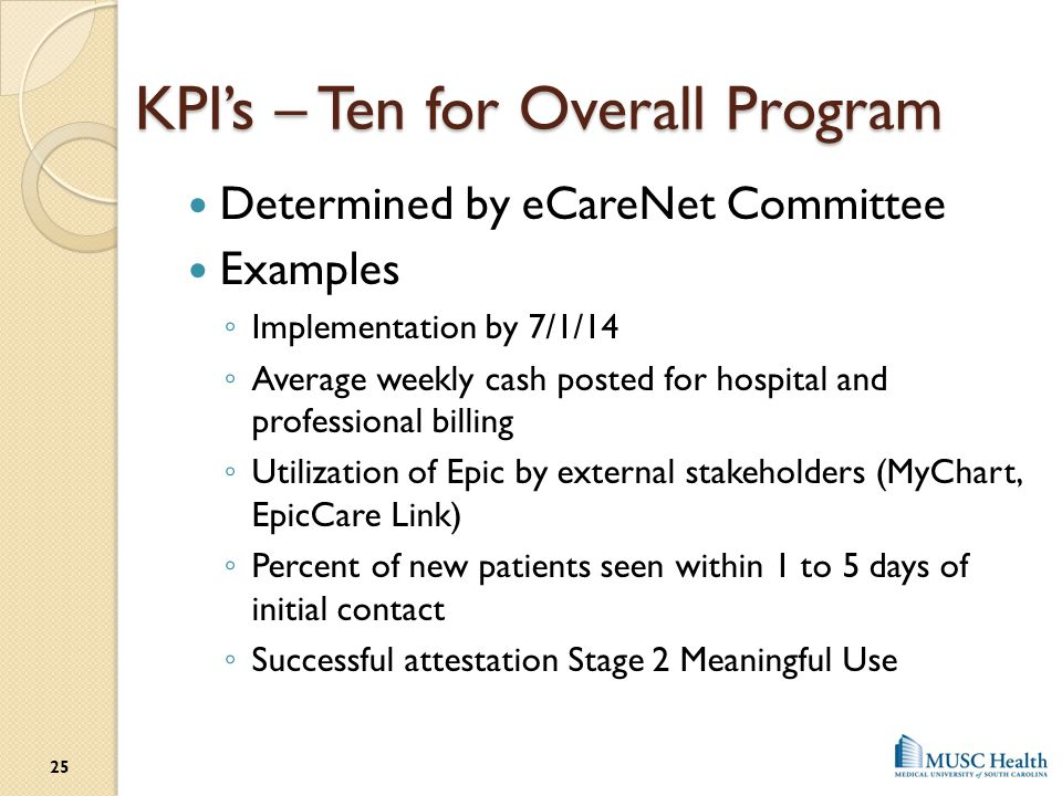 KPI's – Ten for Overall Program Determined by eCareNet Committee Examples ◦ Implementation by 7/1/14 ◦ Average weekly cash posted for hospital and pro