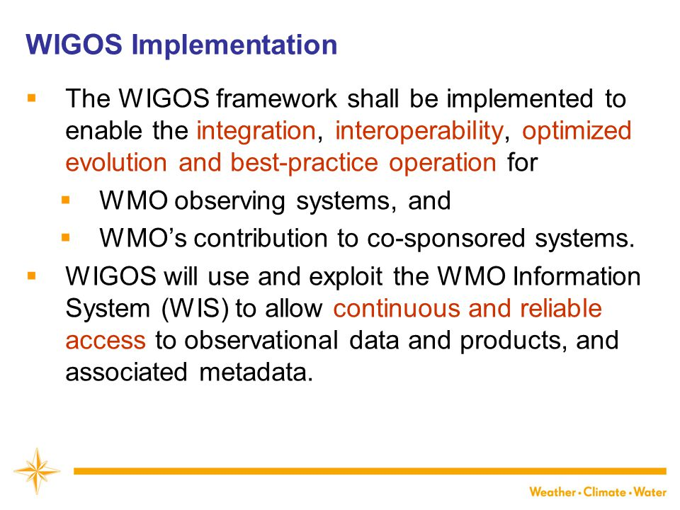 WIGOS Framework Implementation Plan (WIP) CONTENTS 1.Introduction and Background 2.Key Activity Areas for WIGOS Implementation 3.Project Management 4.Implementation 5.Resources 6.Risk Assessment / Management 7.Outlook Annexes KEY ACTIVITY AREAS 1)Management of WIGOS implementation 2)Collaboration with WMO co- sponsored observing systems & international partners 3)Design, planning and optimized evolution 4)Observing System operation and maintenance 5)Quality Management 6)Standardization, system interoperability and data compatibility 7)The WIGOS Operational Information Resource 8)Data and metadata management, delivery and archival 9)Capacity development 10)Communications and outreach