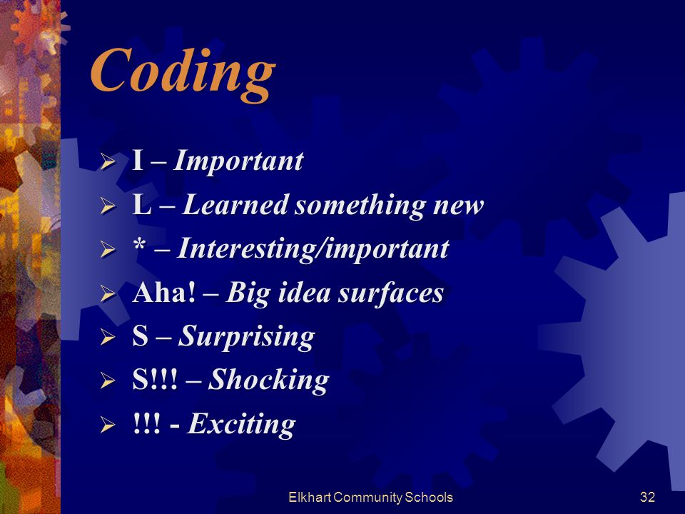 Elkhart Community Schools32 Coding  I – Important  L – Learned something new  * – Interesting/important  Aha.