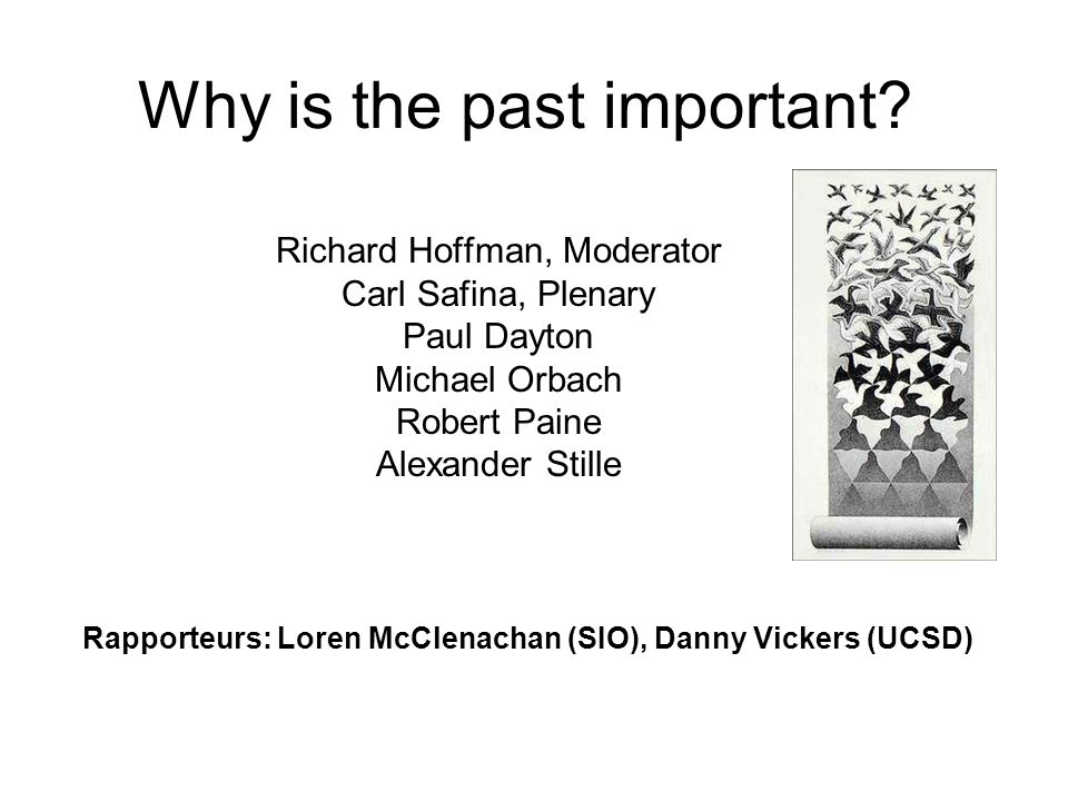 Why is the past important? Richard Hoffman, Moderator Carl Safina, Plenary Paul Dayton Michael Orbach Robert Paine Alexander Stille Rapporteurs: Loren