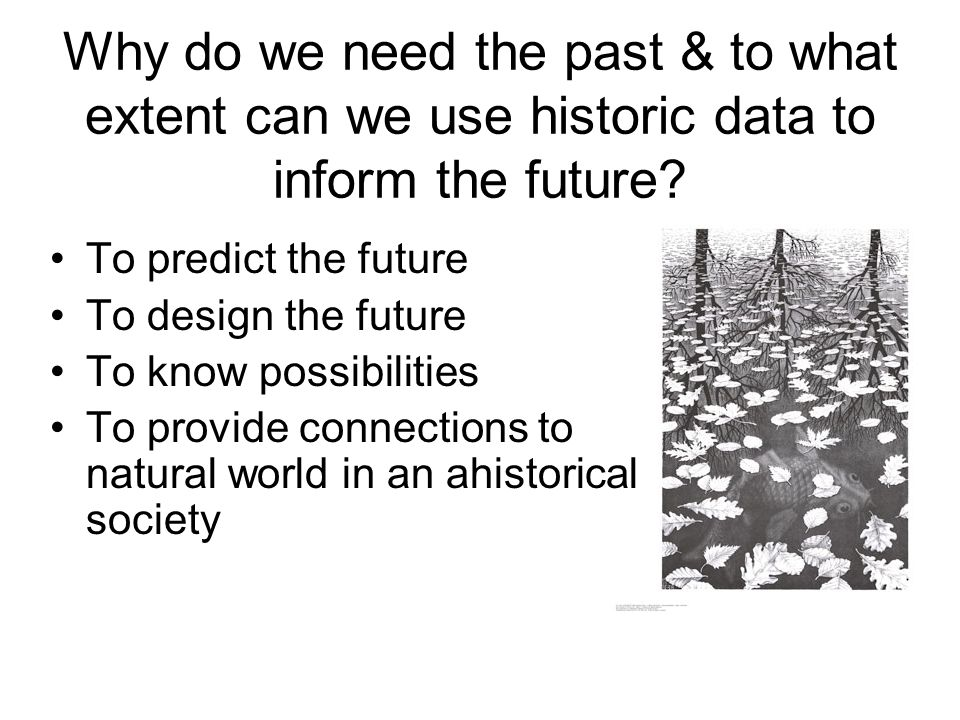 Why do we need the past & to what extent can we use historic data to inform the future.