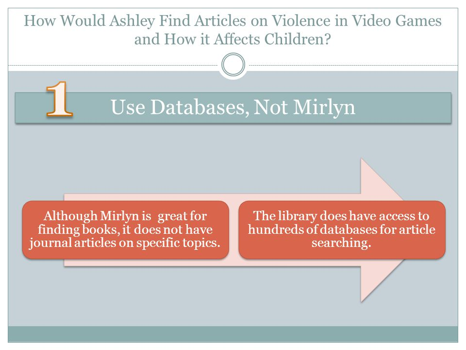 How Would Ashley Find Articles on Violence in Video Games and How it Affects Children.