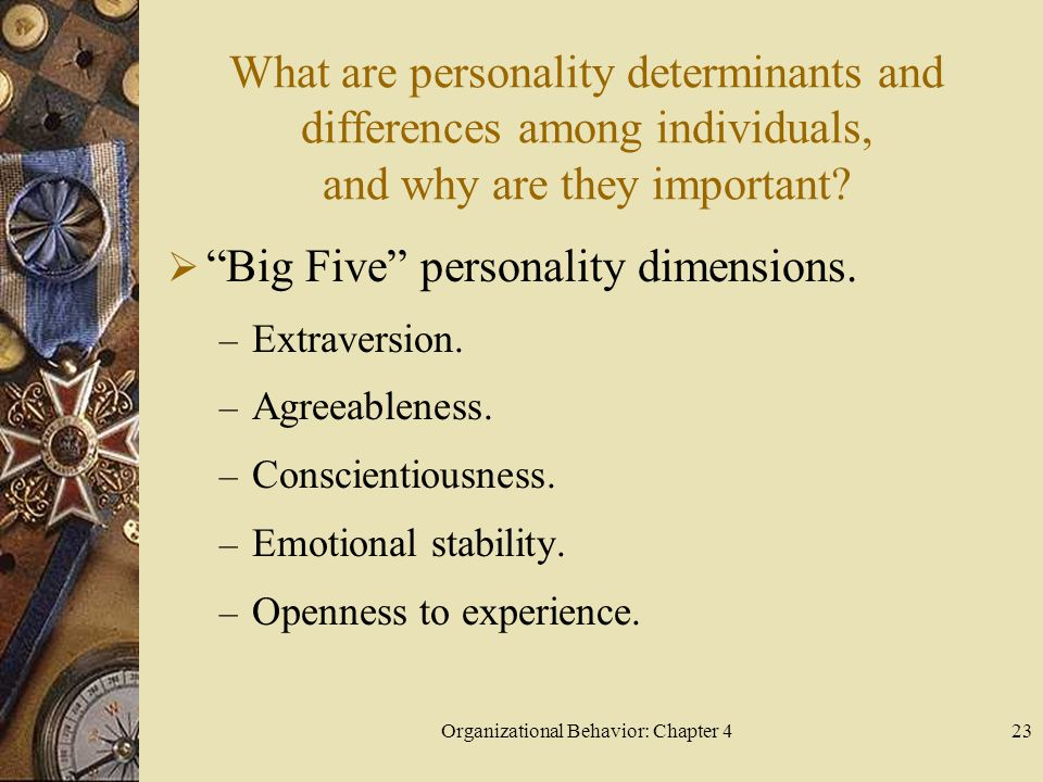 Organizational Behavior: Chapter 423 What are personality determinants and differences among individuals, and why are they important.