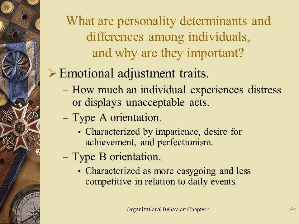 Organizational Behavior: Chapter 434 What are personality determinants and differences among individuals, and why are they important.