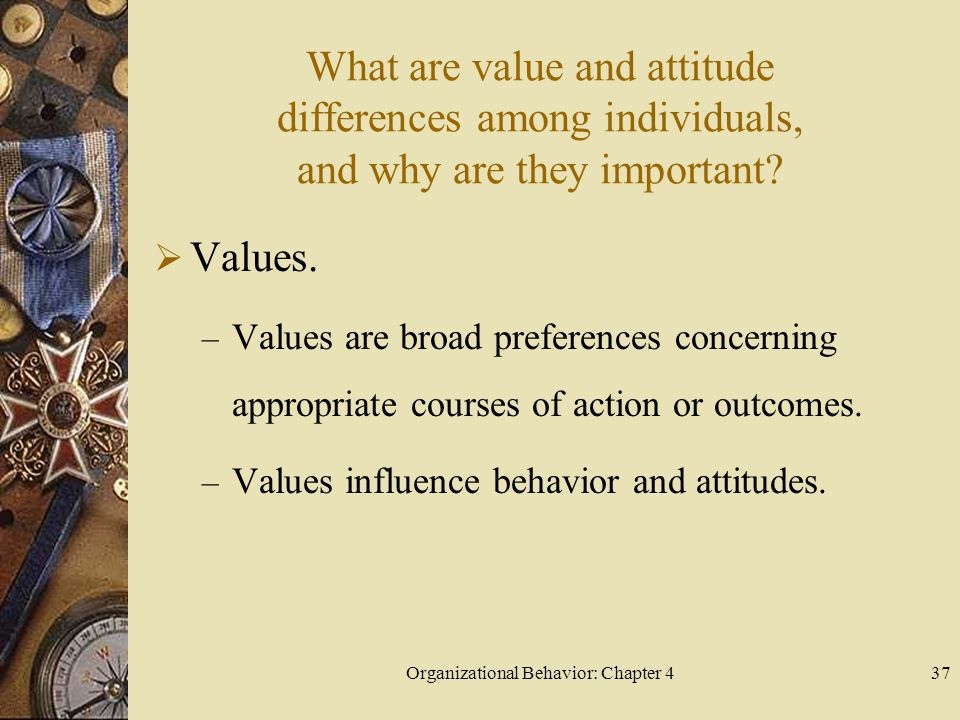 Organizational Behavior: Chapter 437 What are value and attitude differences among individuals, and why are they important.