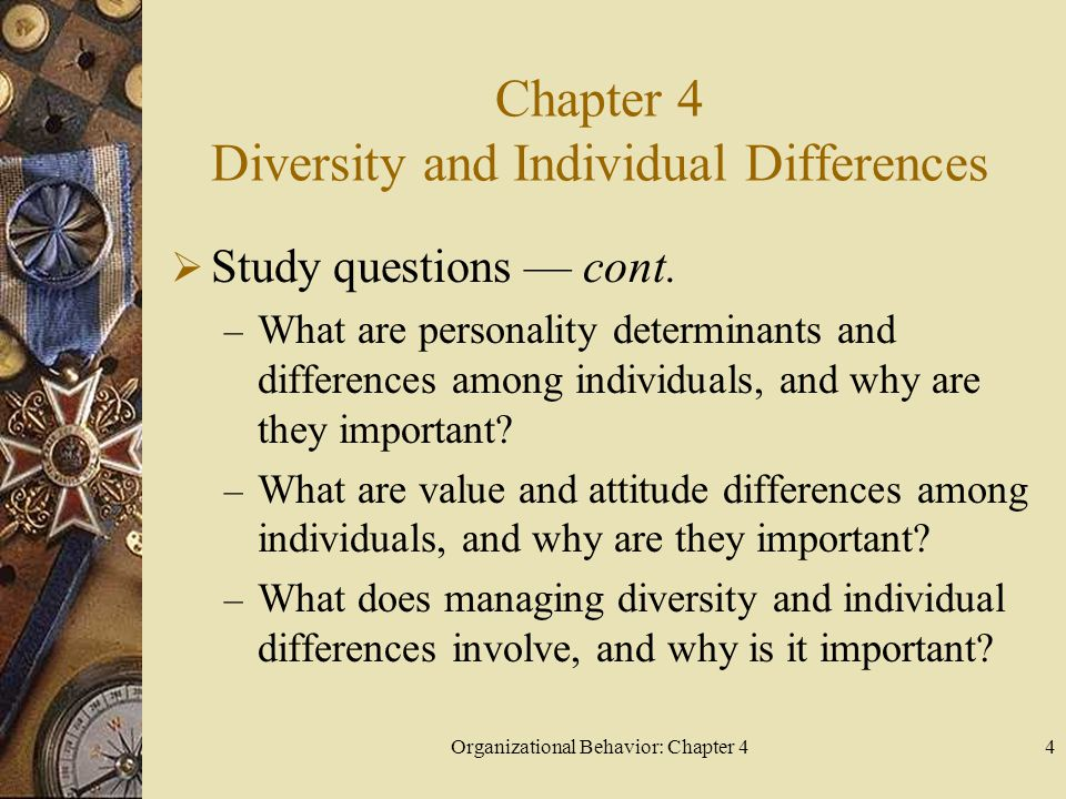Organizational Behavior: Chapter 44 Chapter 4 Diversity and Individual Differences  Study questions — cont.