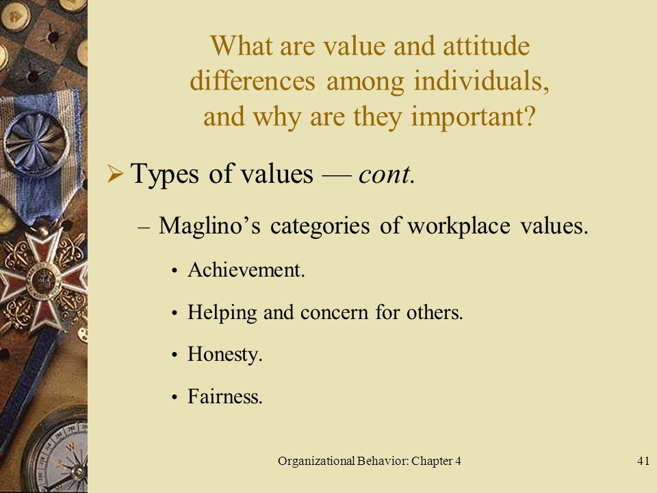 Organizational Behavior: Chapter 441 What are value and attitude differences among individuals, and why are they important.