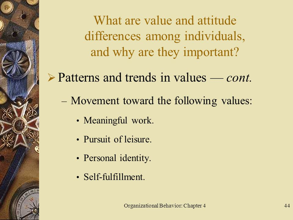 Organizational Behavior: Chapter 444 What are value and attitude differences among individuals, and why are they important.