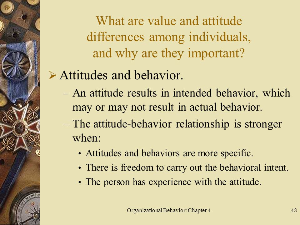 Organizational Behavior: Chapter 448 What are value and attitude differences among individuals, and why are they important.