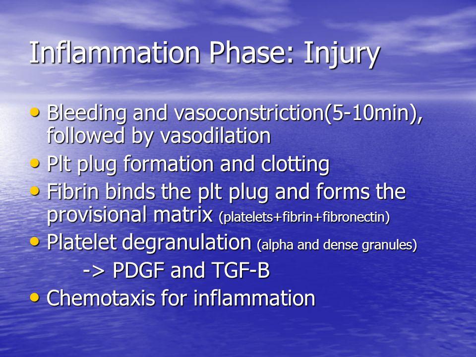 Inflammation Phase: Injury Bleeding and vasoconstriction(5-10min), followed by vasodilation Bleeding and vasoconstriction(5-10min), followed by vasodi