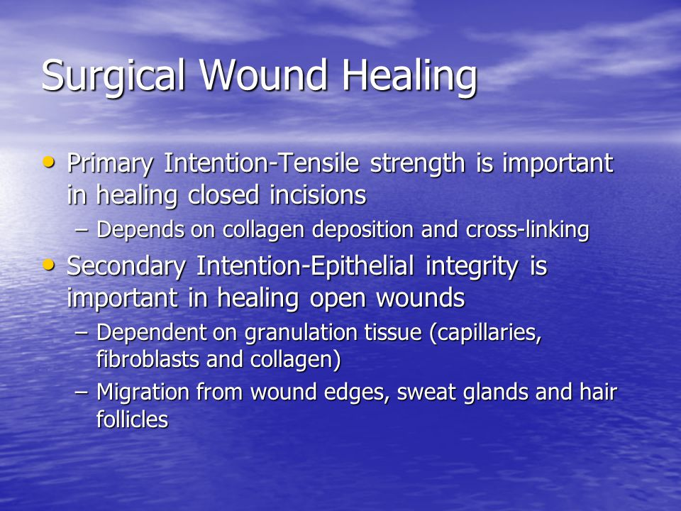 Essential for wound healing Moist environment- optimizes epithelial migration Moist environment- optimizes epithelial migration Oxygen delivery- Essential Oxygen delivery- Essential Avoid edema- edema causes decreased O2 in wounds Avoid edema- edema causes decreased O2 in wounds Remove necrotic tissue- leads to infection Remove necrotic tissue- leads to infection