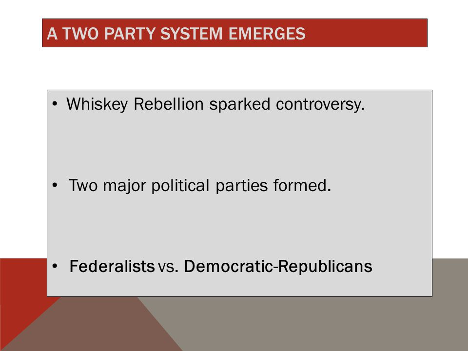 A TWO PARTY SYSTEM EMERGES Whiskey Rebellion sparked controversy.