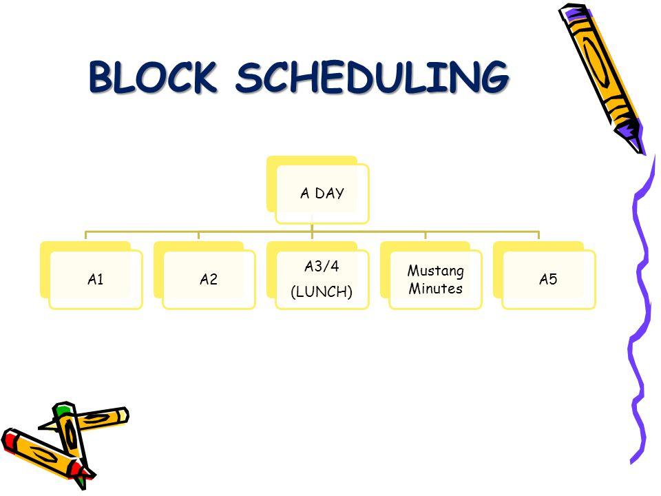 BLOCK SCHEDULING B DAYB1B2 B3/4 (LUNCH) Mustang Minutes B5
