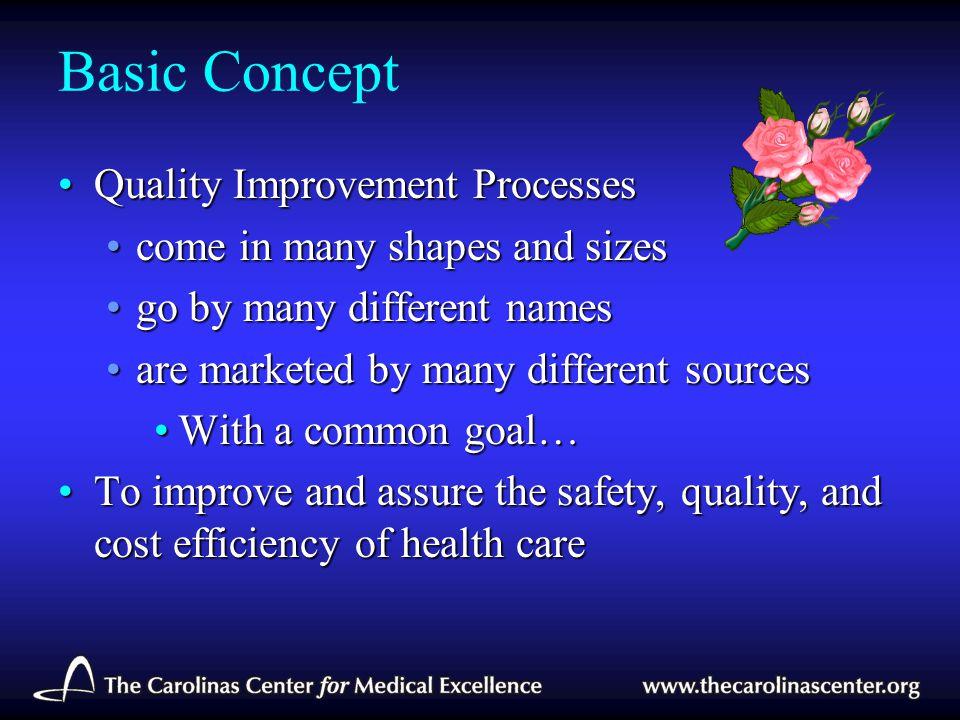 Basic Concept Quality Improvement ProcessesQuality Improvement Processes come in many shapes and sizescome in many shapes and sizes go by many differe