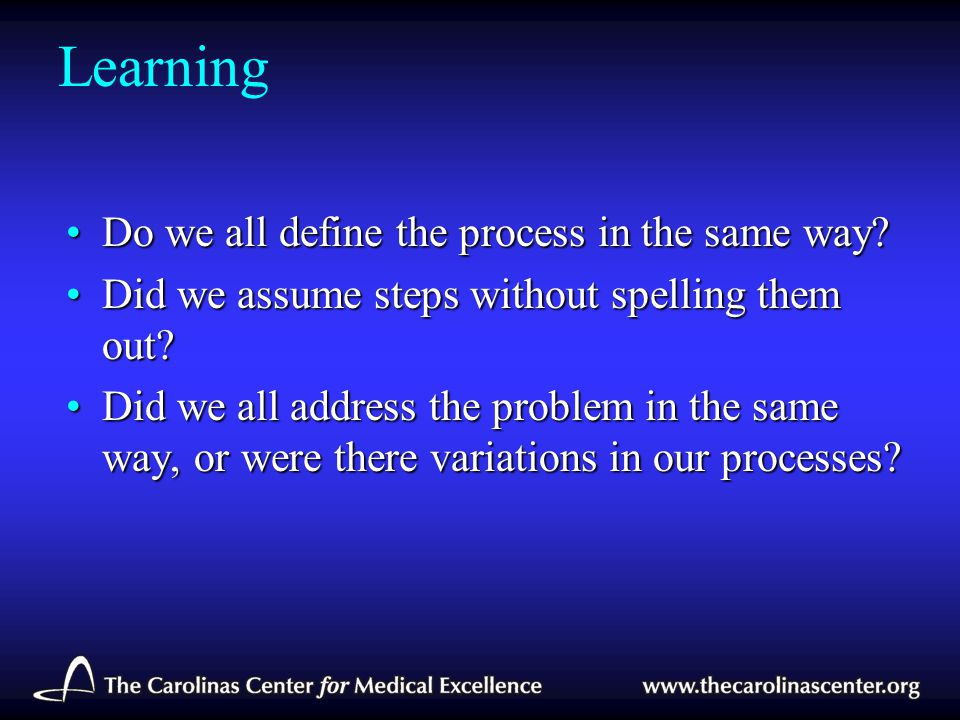 Learning Do we all define the process in the same way?Do we all define the process in the same way? Did we assume steps without spelling them out?Did