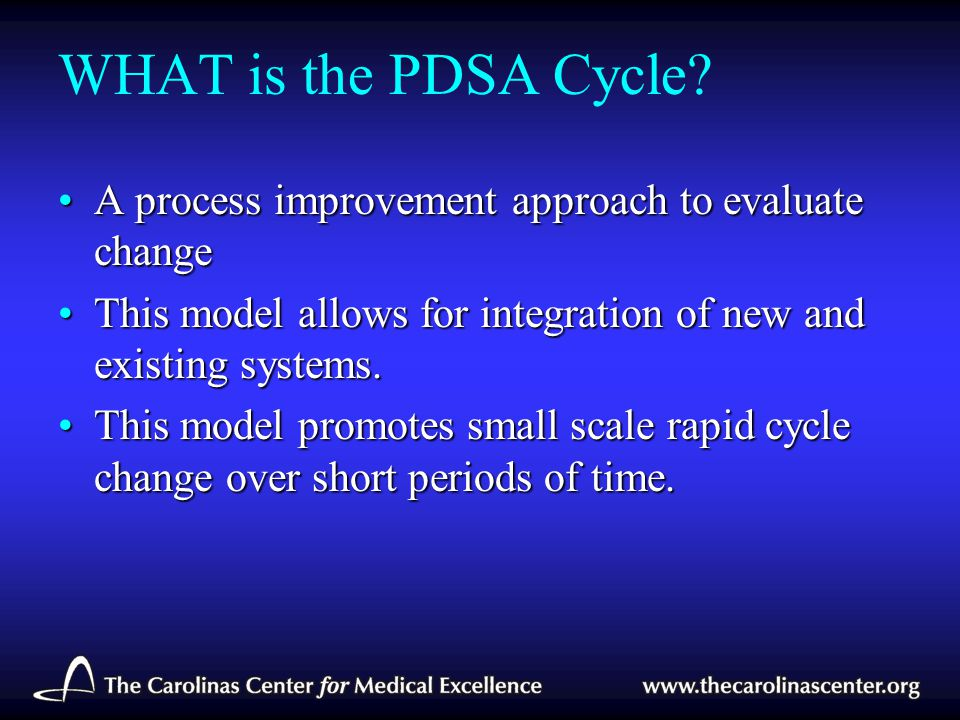 WHAT is the PDSA Cycle? A process improvement approach to evaluate changeA process improvement approach to evaluate change This model allows for integ