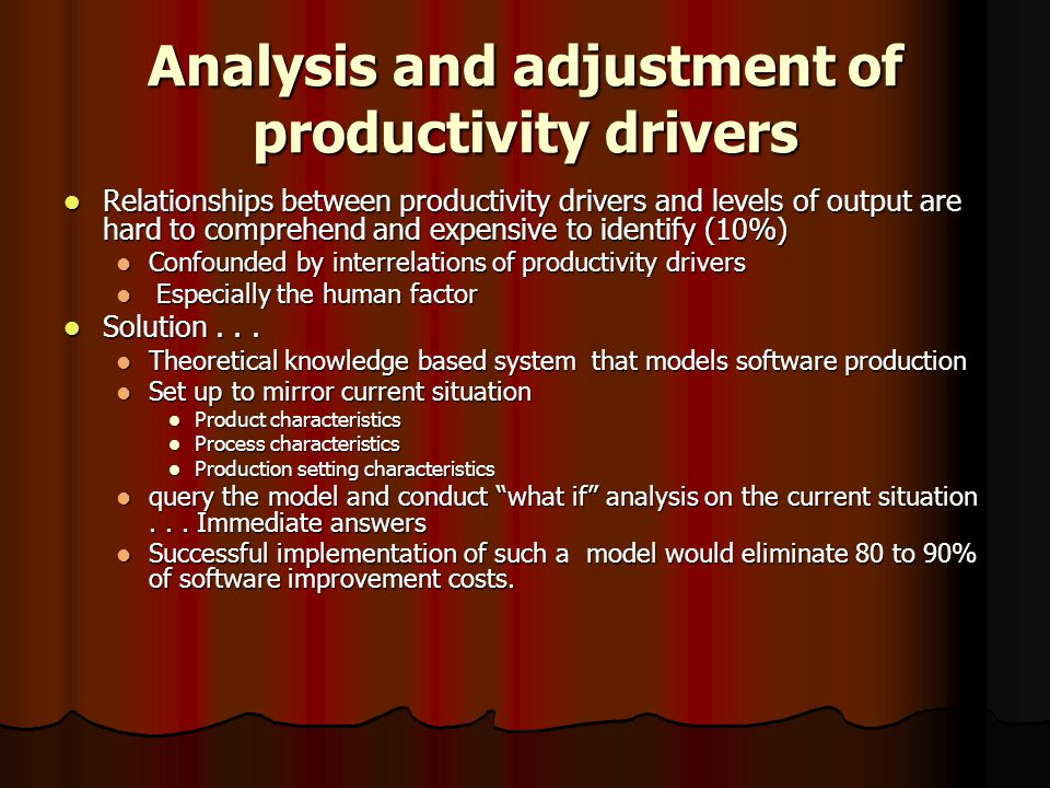 Analysis and adjustment of productivity drivers Relationships between productivity drivers and levels of output are hard to comprehend and expensive to identify (10%) Relationships between productivity drivers and levels of output are hard to comprehend and expensive to identify (10%) Confounded by interrelations of productivity drivers Confounded by interrelations of productivity drivers Especially the human factor Especially the human factor Solution...