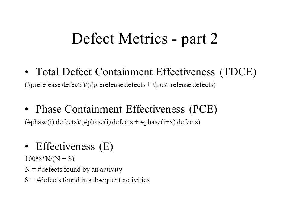 Defect Metrics - part 2 Total Defect Containment Effectiveness (TDCE) (#prerelease defects)/(#prerelease defects + #post-release defects) Phase Contai