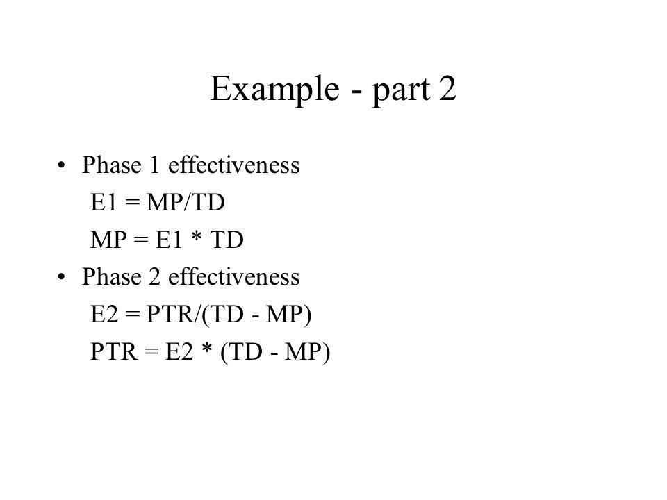 Example - part 2 Phase 1 effectiveness E1 = MP/TD MP = E1 * TD Phase 2 effectiveness E2 = PTR/(TD - MP) PTR = E2 * (TD - MP)
