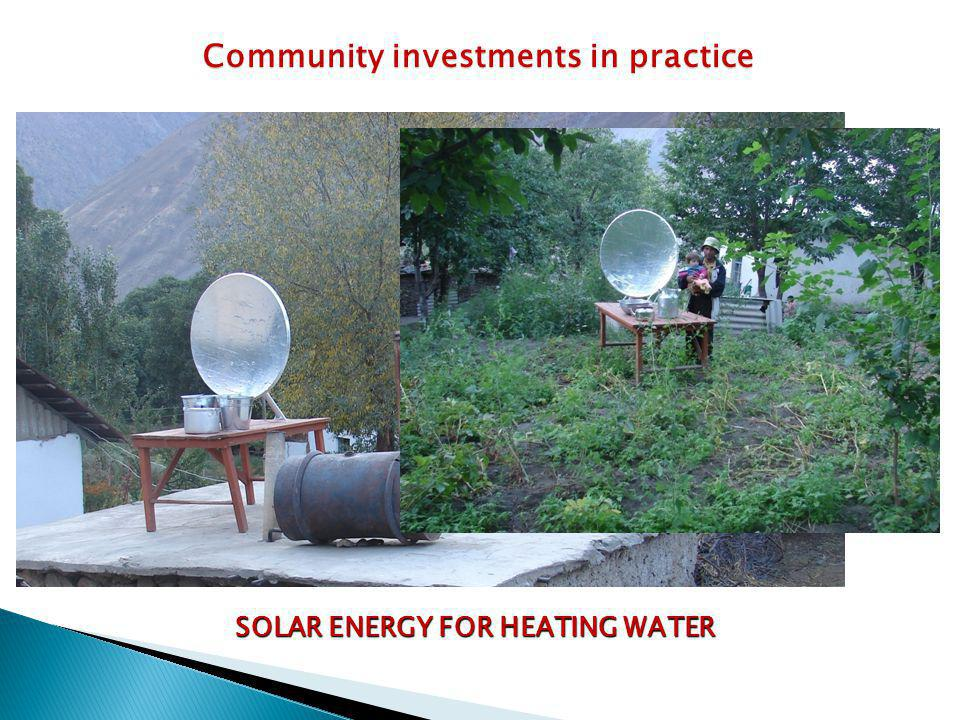 SOLAR ENERGY FOR HEATING WATER Community investments in practice