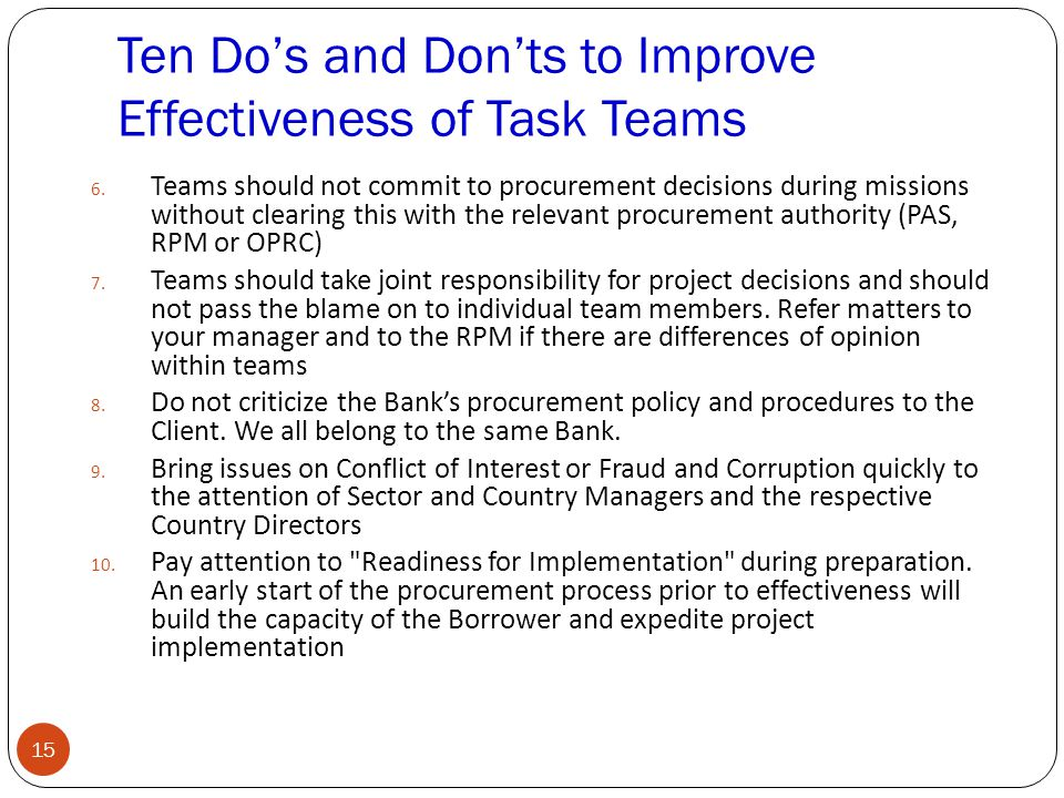 Ten Do's and Don'ts to Improve Effectiveness of Task Teams 6.