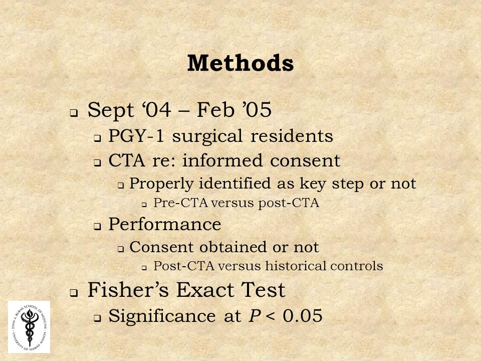Methods  Sept '04 – Feb '05  PGY-1 surgical residents  CTA re: informed consent  Properly identified as key step or not  Pre-CTA versus post-CTA  Performance  Consent obtained or not  Post-CTA versus historical controls  Fisher's Exact Test  Significance at P < 0.05