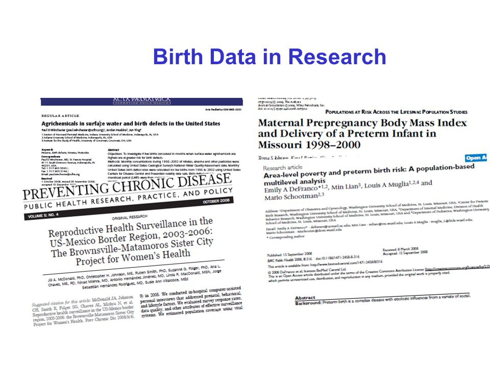 Birth Data in Research