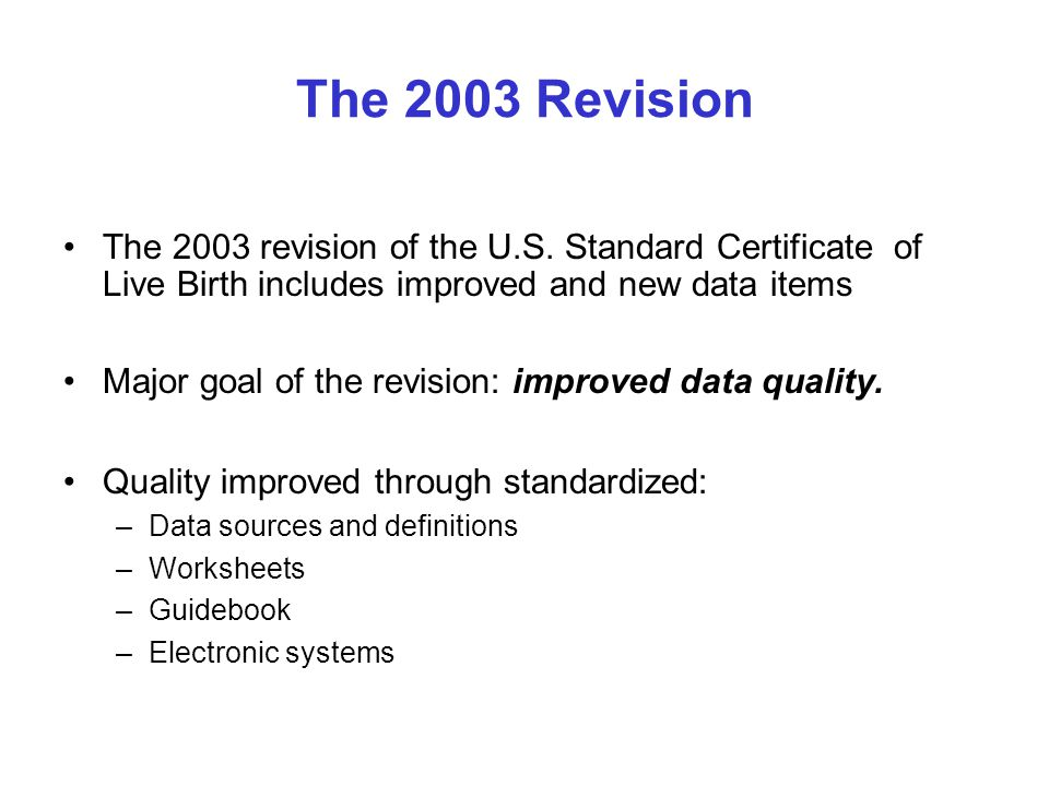 The 2003 Revision The 2003 revision of the U.S.