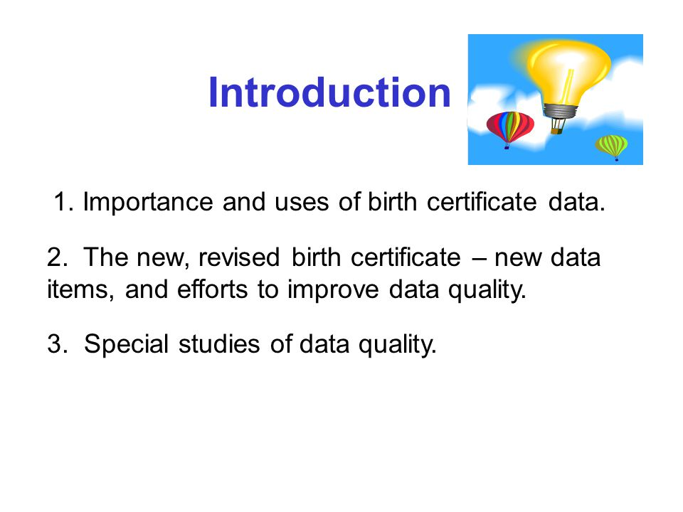 Importance and Uses of Birth Certificate Data