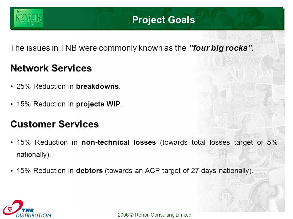 2006 © Renoir Consulting Limited Project Goals` The issues in TNB were commonly known as the four big rocks .