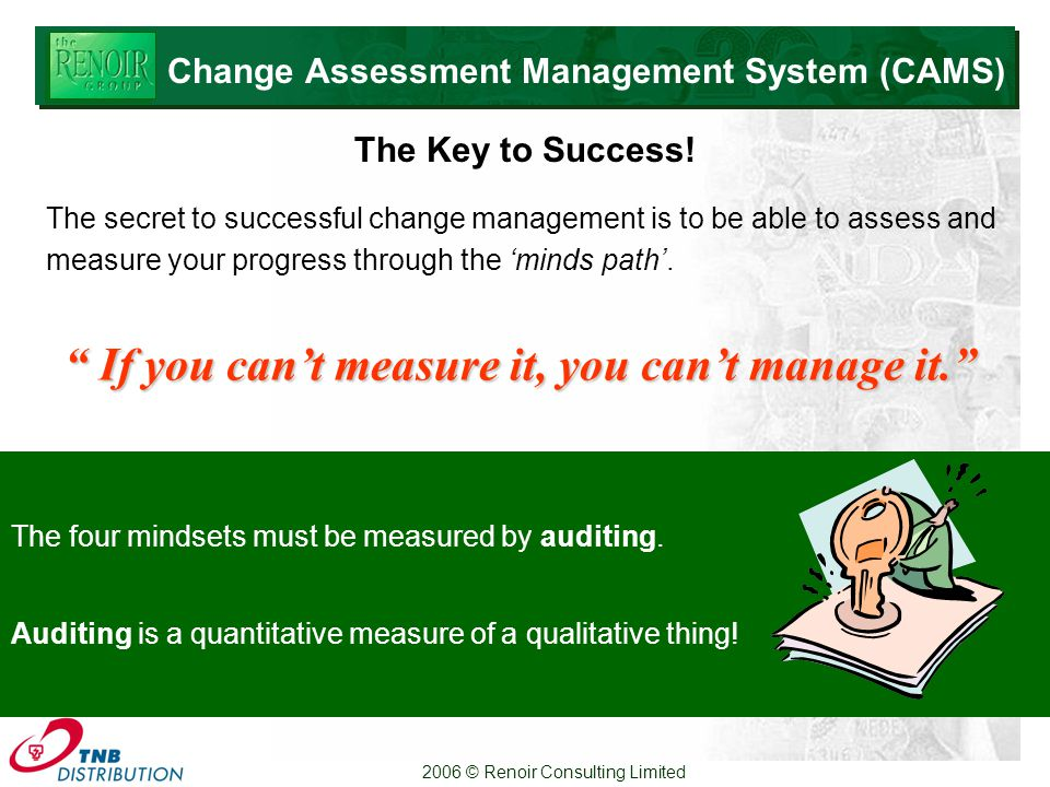 2006 © Renoir Consulting Limited The four mindsets must be measured by auditing.