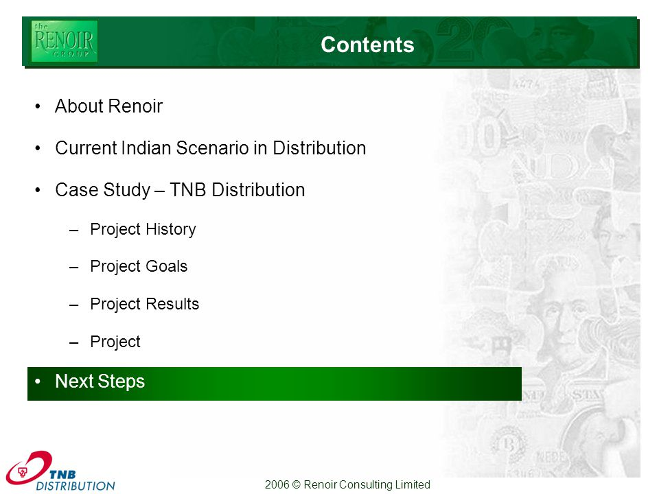 2006 © Renoir Consulting Limited Contents About Renoir Current Indian Scenario in Distribution Case Study – TNB Distribution –Project History –Project Goals –Project Results –Project Next Steps