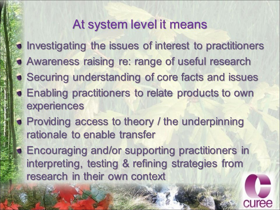 At system level it means Investigating the issues of interest to practitioners Awareness raising re: range of useful research Securing understanding of core facts and issues Enabling practitioners to relate products to own experiences Providing access to theory / the underpinning rationale to enable transfer Encouraging and/or supporting practitioners in interpreting, testing & refining strategies from research in their own context