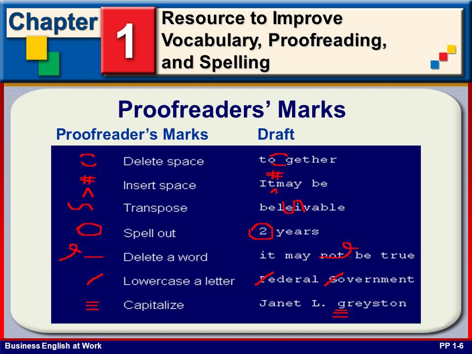 Business English at Work Resource to Improve Vocabulary, Proofreading, and Spelling Proofreaders' Marks Proofreader's MarksDraft PP 1-6