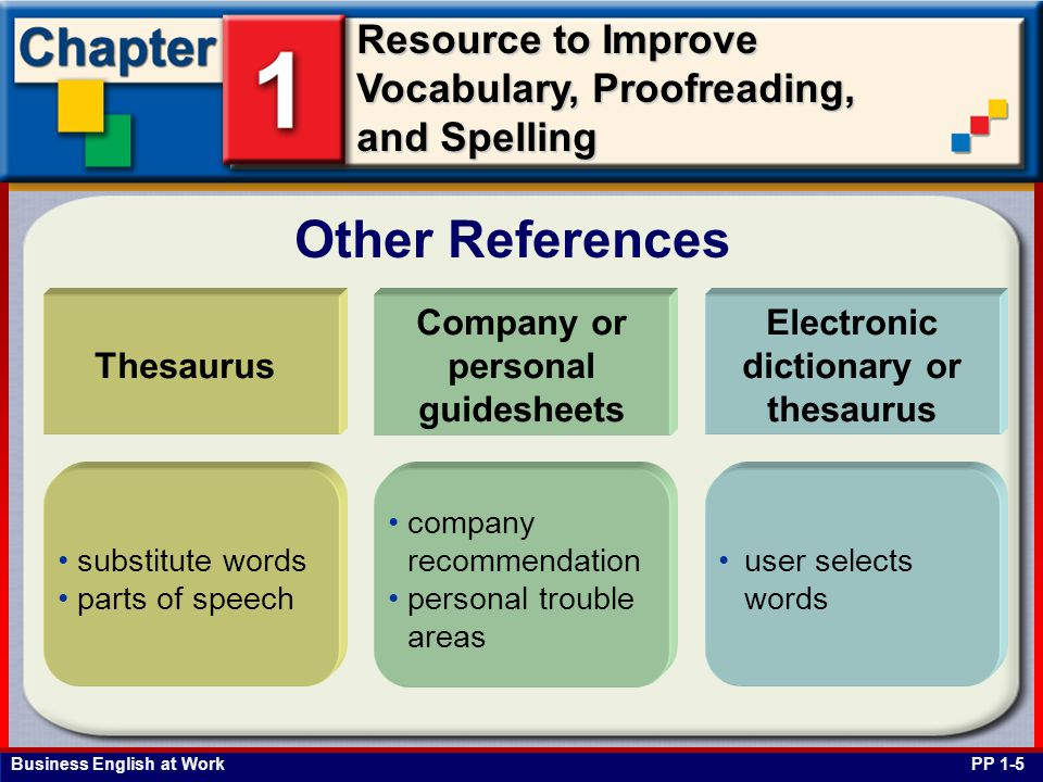 Business English at Work Resource to Improve Vocabulary, Proofreading, and Spelling Other References Thesaurus Company or personal guidesheets Electro