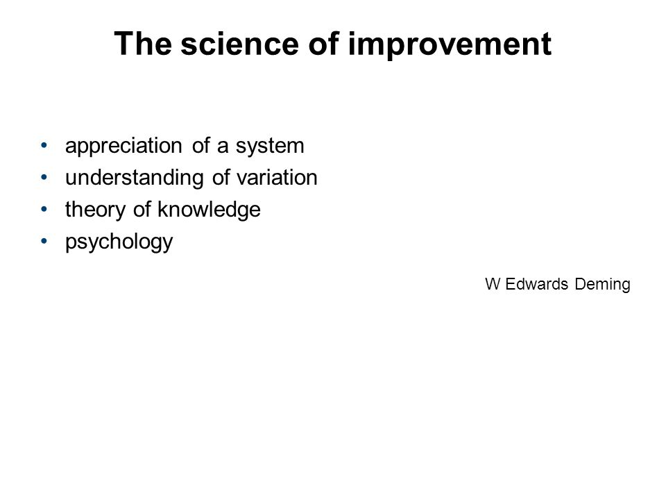W Edwards Deming The science of improvement appreciation of a system understanding of variation theory of knowledge psychology