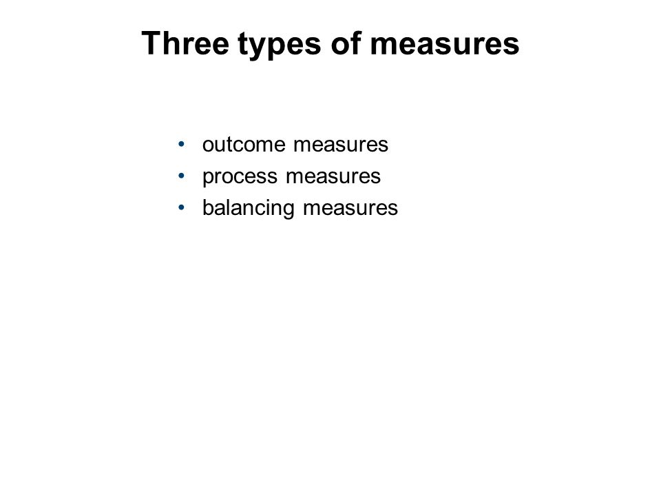 Three types of measures outcome measures process measures balancing measures