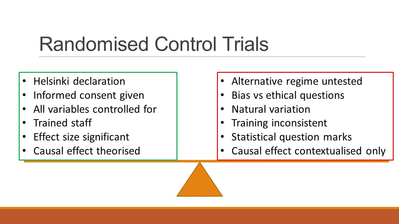 Randomised Control Trials Helsinki declaration Informed consent given All variables controlled for Trained staff Effect size significant Causal effect theorised Alternative regime untested Bias vs ethical questions Natural variation Training inconsistent Statistical question marks Causal effect contextualised only