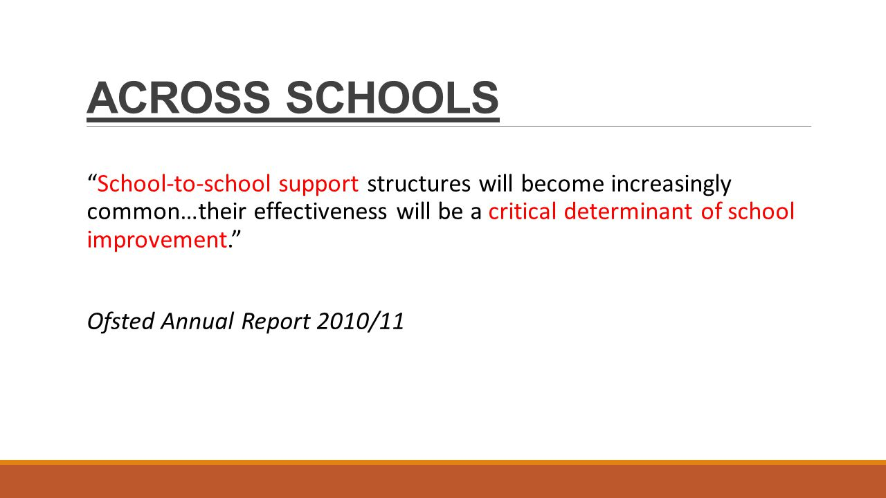 ACROSS SCHOOLS School-to-school support structures will become increasingly common…their effectiveness will be a critical determinant of school improvement. Ofsted Annual Report 2010/11
