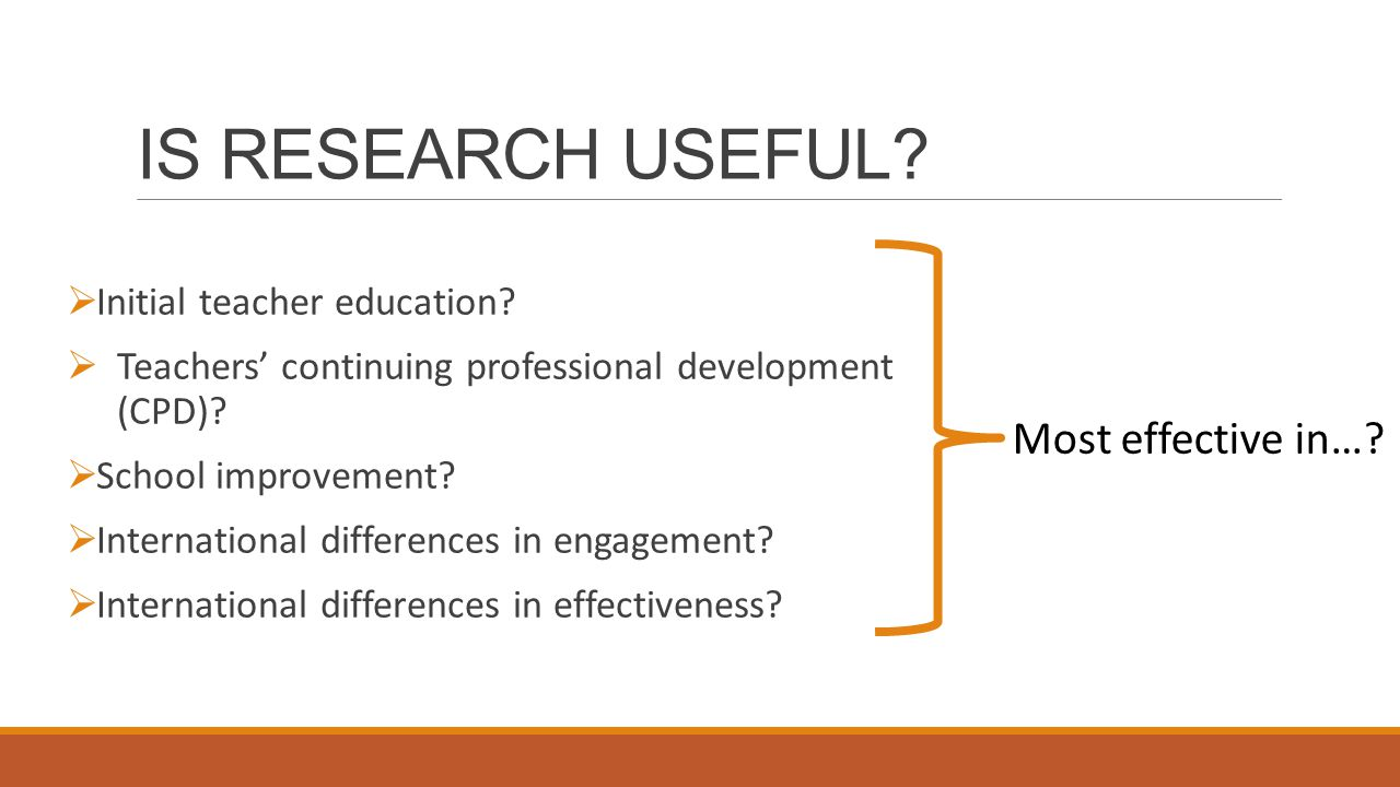 IS RESEARCH USEFUL.  Initial teacher education.