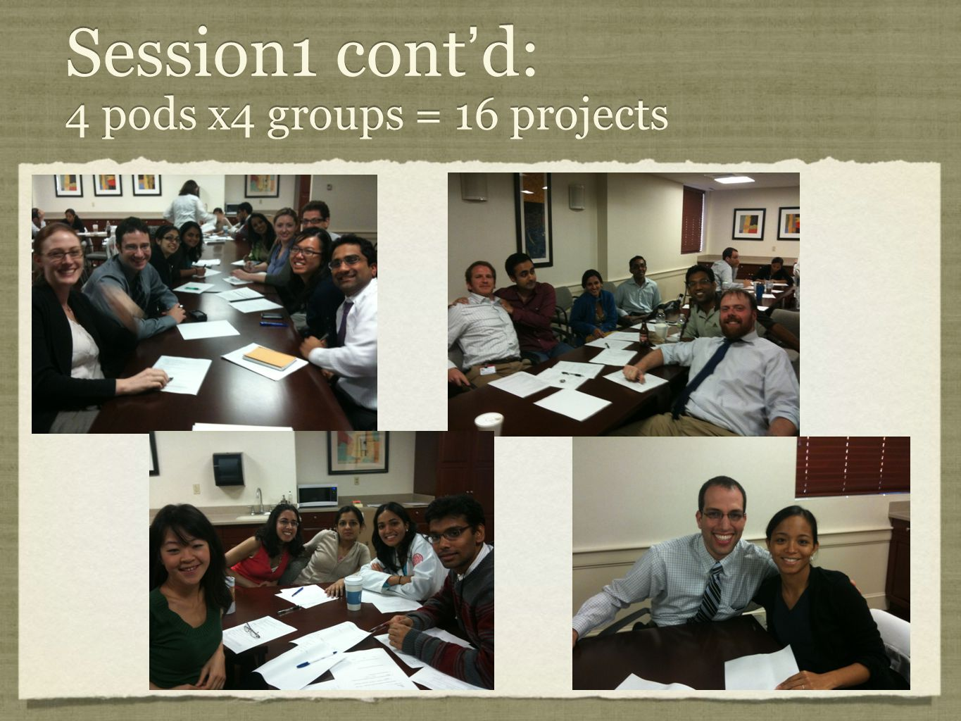 Session1 cont ' d: 4 pods x4 groups = 16 projects