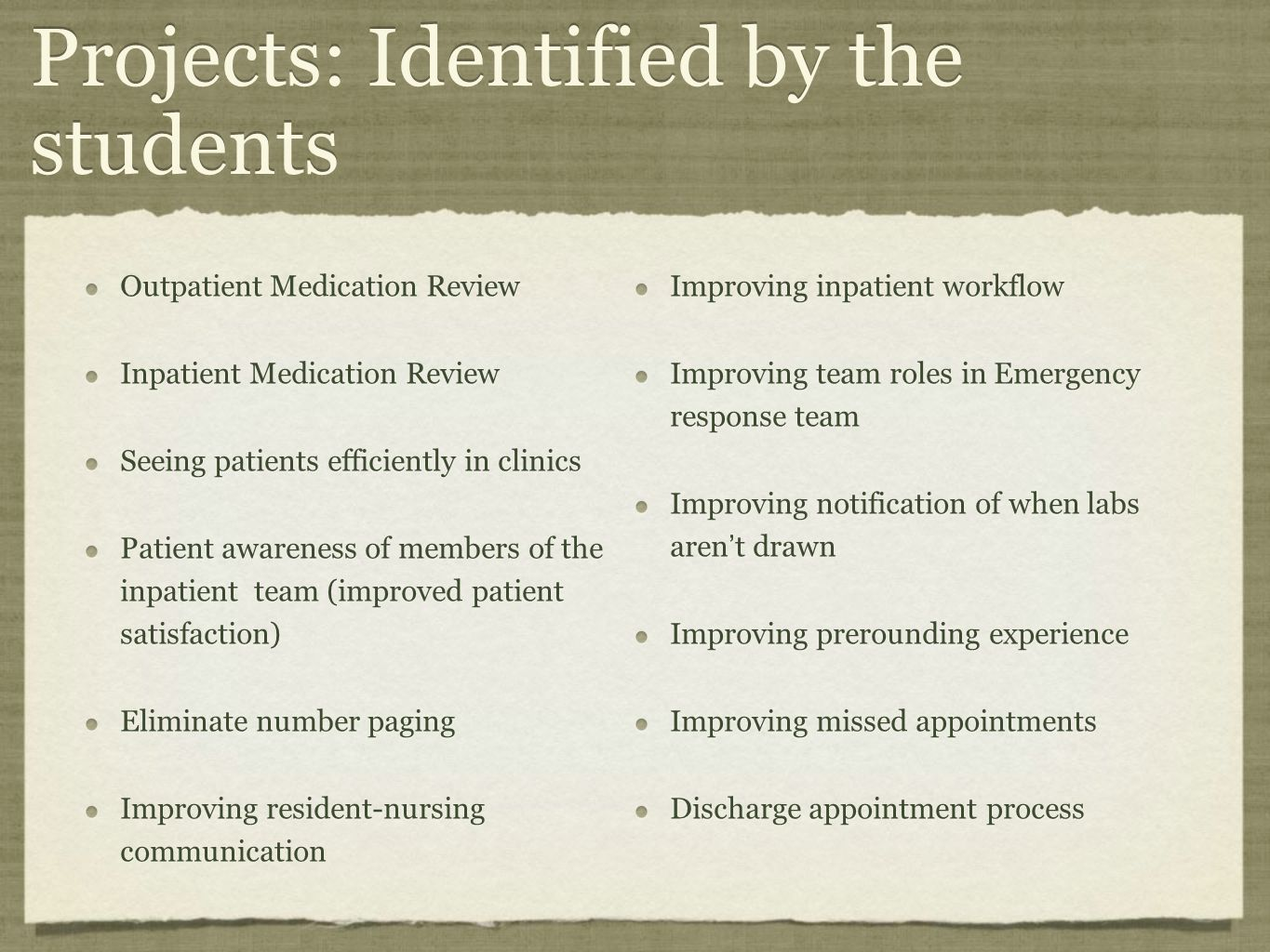 Projects: Identified by the students Outpatient Medication Review Inpatient Medication Review Seeing patients efficiently in clinics Patient awareness