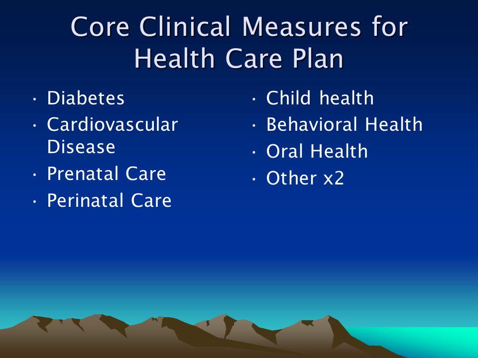 Core Clinical Measures for Health Care Plan Diabetes Cardiovascular Disease Prenatal Care Perinatal Care Child health Behavioral Health Oral Health Ot