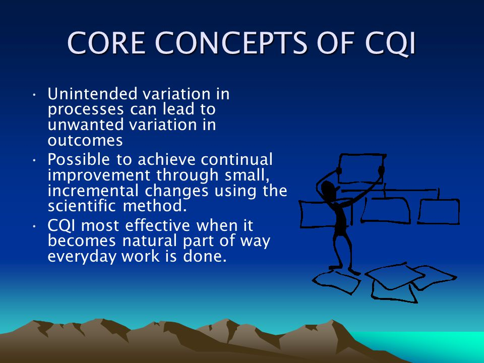 CORE CONCEPTS OF CQI Unintended variation in processes can lead to unwanted variation in outcomes Possible to achieve continual improvement through sm