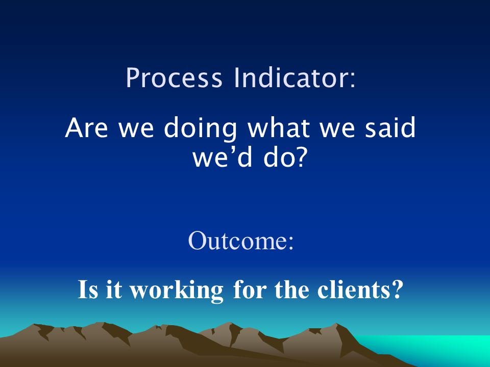 Process Indicator: Are we doing what we said we'd do? Outcome: Is it working for the clients?