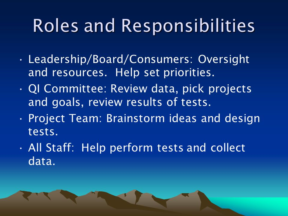 Roles and Responsibilities Leadership/Board/Consumers: Oversight and resources. Help set priorities. QI Committee: Review data, pick projects and goal