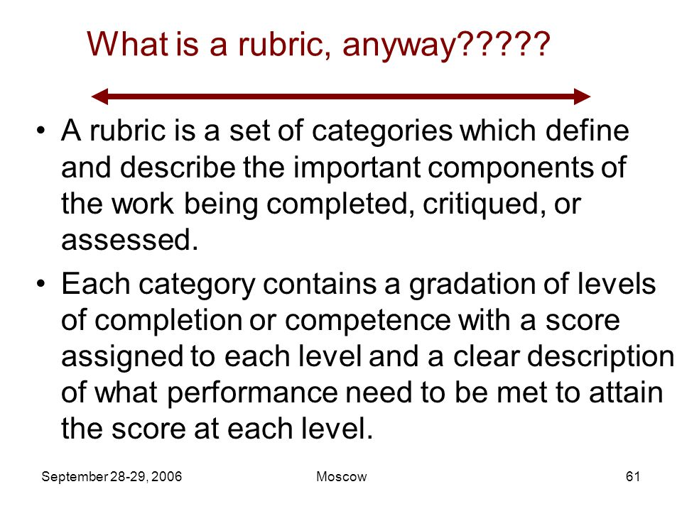 September 28-29, 2006Moscow60 What is 'acceptable' level of performance? Developing scoring rubrics