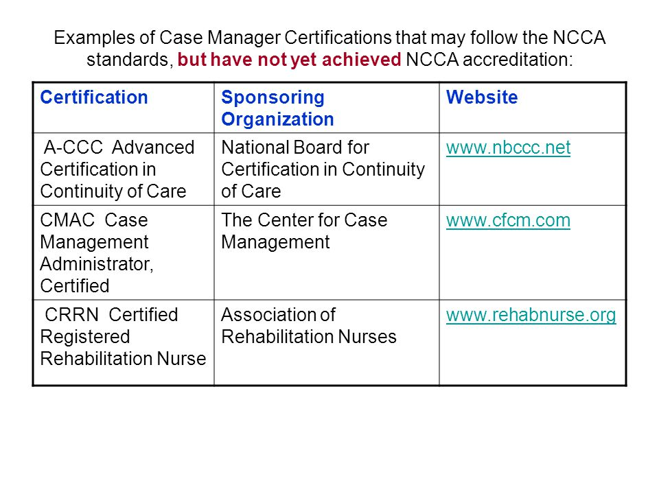 Examples of Case Manager Certifications that may follow the NCCA standards, but have not yet achieved NCCA accreditation: CertificationSponsoring Organization Website A-CCC Advanced Certification in Continuity of Care National Board for Certification in Continuity of Care   CMAC Case Management Administrator, Certified The Center for Case Management   CRRN Certified Registered Rehabilitation Nurse Association of Rehabilitation Nurses