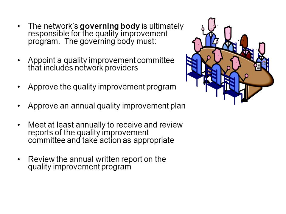 The network's governing body is ultimately responsible for the quality improvement program.